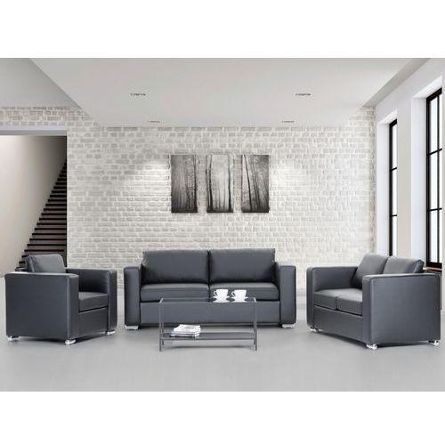 Sofa skórzana czarna 2 x sofy, 1 x fotel HELSINKI, Beliani