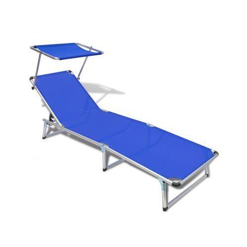 Leżak z aluminiową ramą oraz niebieskim materiałem - produkt dostępny w VidaXL
