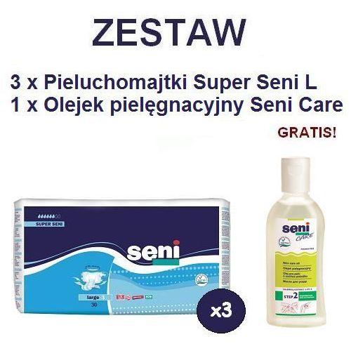 Produkt Pieluchomajtki Super Seni (3) Large 3op. x 30szt + Olejek Seni Care
