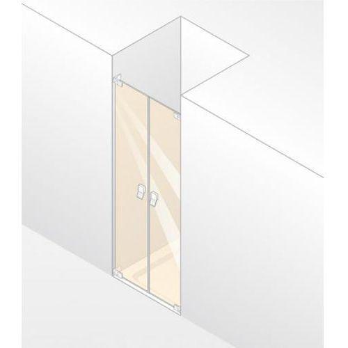 Huppe Studio Berlin Pure Drzwi prysznicowe częściowo w ramie, skrzydłowe do wnęki 100/200 chrom eloxal Szk