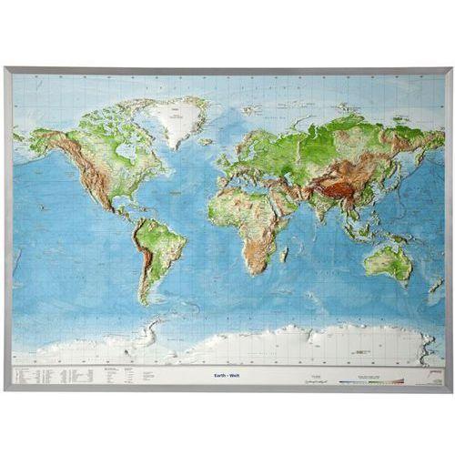 Świat mapa plastyczna w ramie 1:53 500 000 GeoRelief, produkt marki Georelief GbR