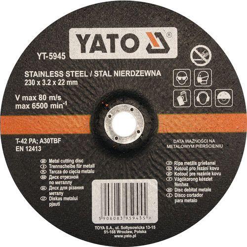 Oferta Tarcza do cięcia stali nierdzewnej, wypukła 230x3,2x22 mm YT-5945