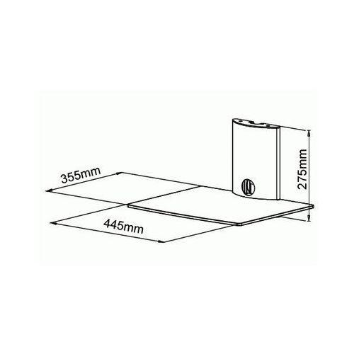 ART D49 - Półka audio video DVD hartowane szkło i polerowane aluminium, czarna z kat.: półki rtv