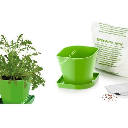 Zioła w kuchni - zestaw donica z podstawką, ziemia oraz nasiona rukoli - kwadratowe, produkt marki Tescoma