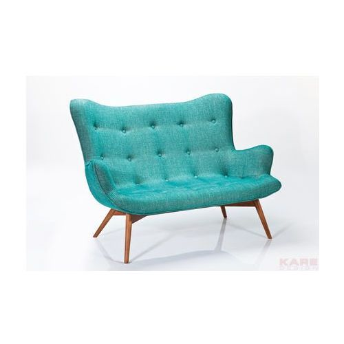Angels Wings Rhythm Sofa Turkusowa 2 Osobowa Tkanina Drewno - 78918, Kare Design