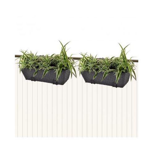 Donice balkonowe prostokątne 50 cm x2 czarne, produkt marki vidaXL