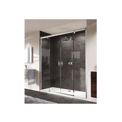 Huppe Aura Elegance Drzwi suwane 2-częściowe ze stałymi segmentami - 160/190cm srebrny matowy Szkło Sand P
