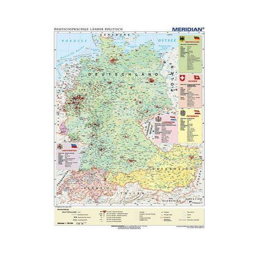 Produkt Niemcy, Austria, Szwajcaria. Kraje niemieckojęzyczne / Deutschsprachige Länder politisch. Mapa ścienna. , marki Meridian