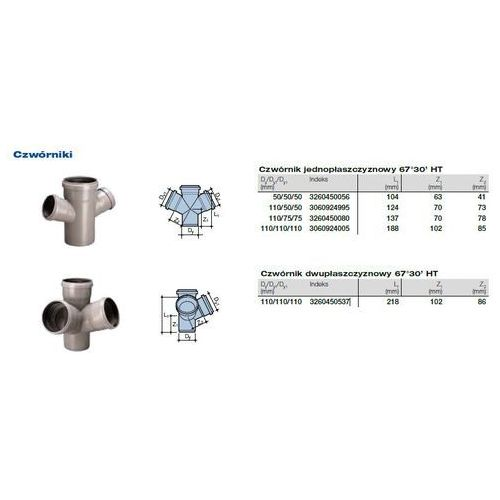 Czwórnik kanalizacyjny Wavin HT PVC/PP 110x75x75/67* stopni popiel