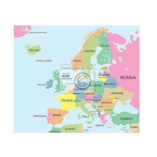 Obraz Kolorowa mapa polityczna Europy, produkt marki myloview