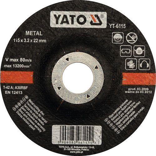 Oferta Tarcza do cięcia metalu, wypukła 115x3.2x22 mm YT-6115