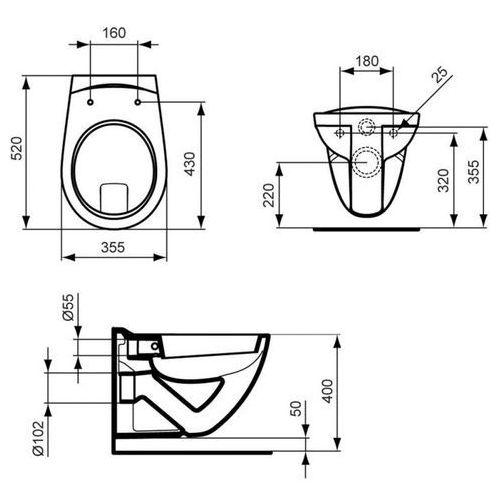 Ideal standard  eurovit muszka klozetowa wisząca 36x52,5 cm, z półką, biała v340301 - odbiór osobisty: k