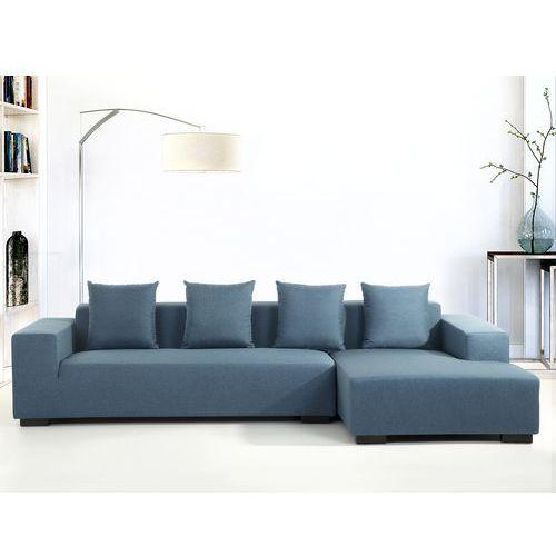 Sofa niebieska - sofa narozna L - tapicerowana - LUNGO, Beliani
