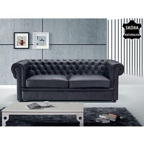 Sofa kanapa skórzana czarna klasyka dom biuro CHESTERFIELD, Beliani