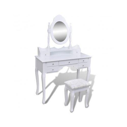 Biała toaletka z taboretem, lustrem i 7 szufladami XXL - oferta [0586d3a40f0306e7]