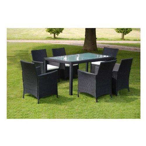 Meble ogrodowe rattanowe czarne stół + 6 krzeseł, produkt marki vidaXL
