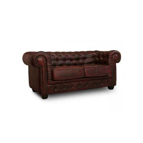 Sofa 2-osobowa CHESTERFIELD skóra czerwona antique