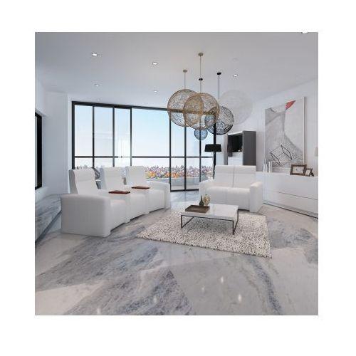Domowy fotel kinowy z drewnianymi elementami i sofa 3+2 Biały, vidaXL