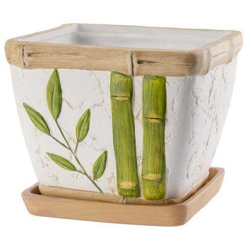 Kwadratowa doniczka Bambus z podstawką 14,5cm, produkt marki Galicja