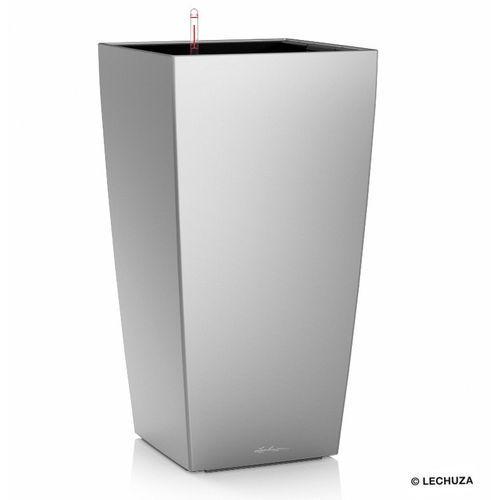 Donica  CUBICO - srebrna - 40x 40 x 75 cm, matowa - srebrny, produkt marki Lechuza