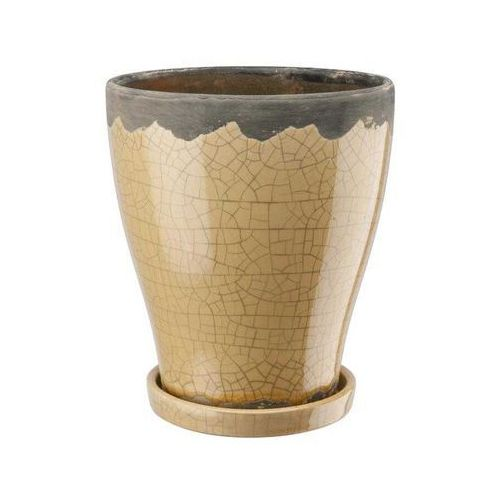 Doniczka ceramiczna z podstawką kremowo - żółta, produkt marki Galicja