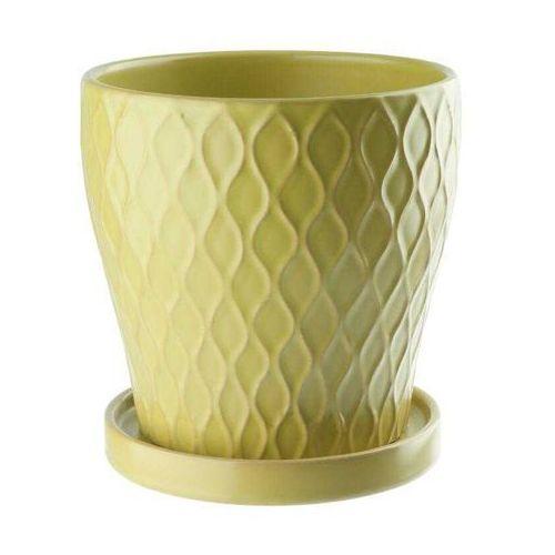 Doniczka ceramiczna z podstawka 13,5 cm zielona, produkt marki Galicja