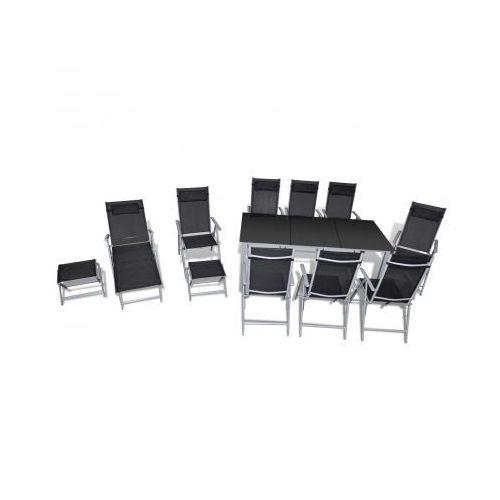Zestaw aluminiowych mebli ogrodowych, 12-częściowy., produkt marki vidaXL