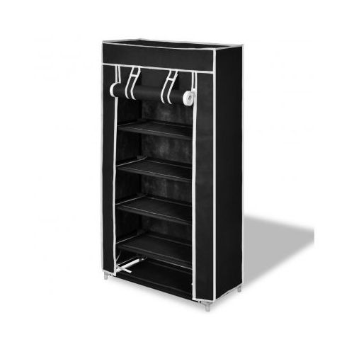 Półka na buty z materiału, czarna (58 x 28 x 106 cm)., marki vidaXL do zakupu w VidaXL