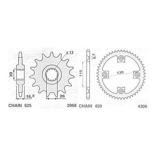 JR ZĘBATKA 2068 16 HONDA CBR 600 RR (03-09), CBR 900 RR , XL 1000 V, CB 900F (137016JT) 206816JR