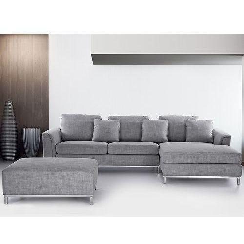 Sofa narozna z pufa w kolorze jasnoszarym - kanapa tapicerowana - OSLO, Beliani