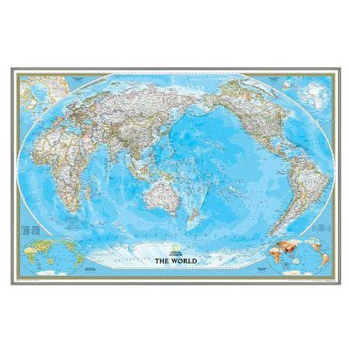 Świat. Mapa ścienna polityczna Pacific Centered magnetyczna w ramie 1:36,4 mln wyd. , produkt marki National Geographic