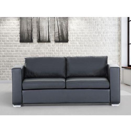 Skórzana sofa trzyosobowa czarna - kanapa - HELSINKI, Beliani