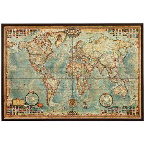 Świat mapa ścienna stylizowana antyczna na podkładzie korkowym, produkt marki Ray&Co