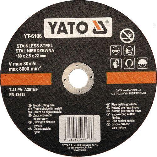 Oferta Tarcza do cięcia stali nierdzewnej 180x2.5x22 mm YT-6106