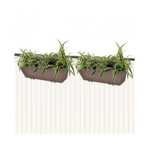 Donice balkonowe prostokątne 50 cm x2 brąz, produkt marki vidaXL