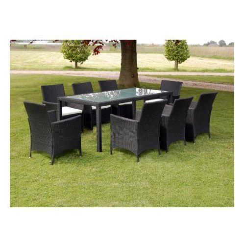 Meble ogrodowe rattanowe czarne stół + 8 krzeseł, produkt marki vidaXL