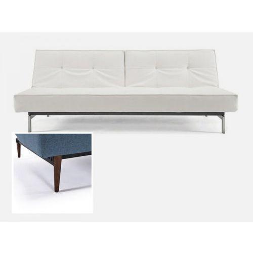 Sofa Splitback biała 588 nogi ciemne drewno  741010588-741007-3-2, INNOVATION iStyle