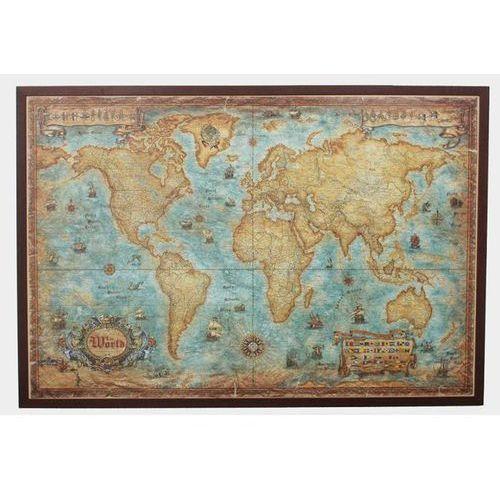 Świat mapa ścienna stylizowana w aluminiowej ramie, produkt marki Ray&Co