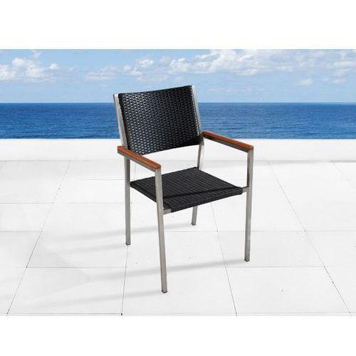 Krzeslo ogrodowe - stal niezdzewna - siedzisko rattan - GROSSETO ze sklepu BELIANI.PL