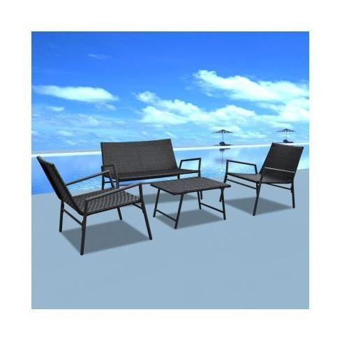 Rattanowy zestaw ogrodowy krzesła i stolik 4 szt. czarny, produkt marki vidaXL