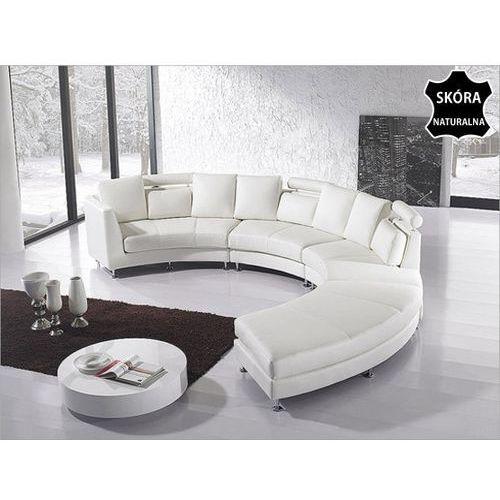 Pólokragla sofa skórzana zlamana biel - 8 miejsc siedzacych ROTUNDE, Beliani