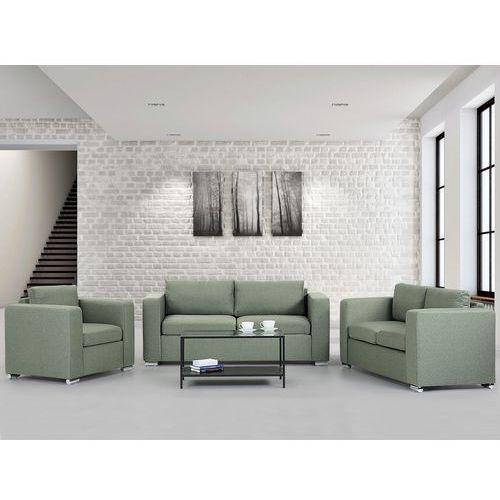 Zestaw wypoczynkowy oliwkowy - Sofa - trzyosobowa - dwuosobowa - fotel - HELSINKI, Beliani