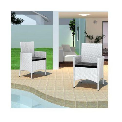 Zestaw ogrodowych mebli rattanowych – 2 krzesła jadalniane do użytku zewnętrznego, białe, produkt marki