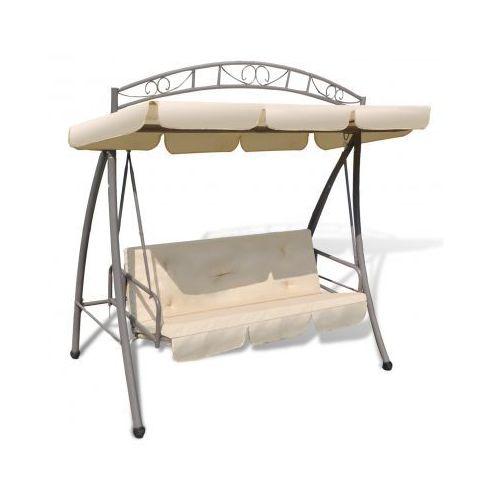 Huśtawka / łóżko z baldachimem w kolorze piasku z ozdobnym łukiem, vidaXL