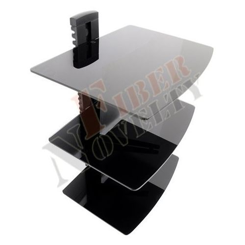 Fiber Novelty Półka audio video DVD hartowane szkło i aluminium, wysoka jakość wykonania, 3 poziomy - DVD