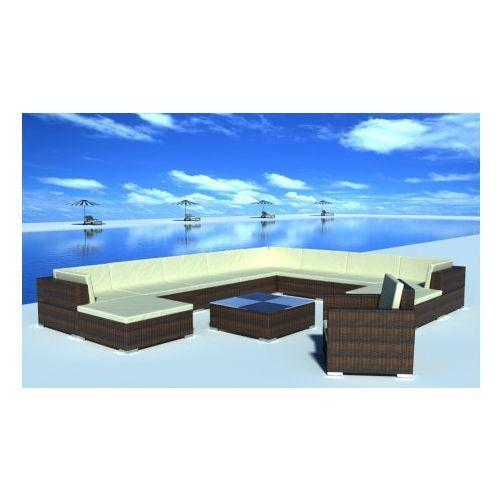 Duży zestaw mebli ogrodowych z polirattanu 35-częściowy (Brązowe), produkt marki vidaXL