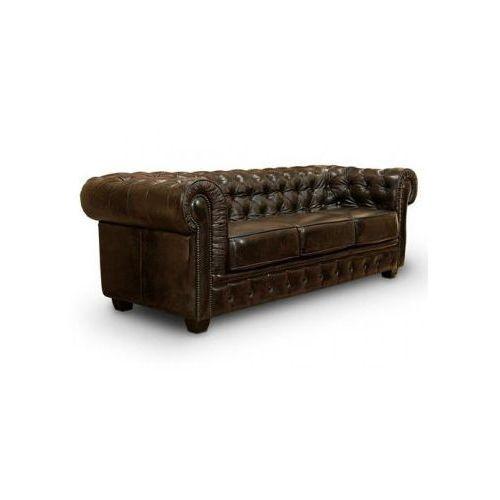 Sofa 3-osobowa CHESTERFIELD skóra brąz antique