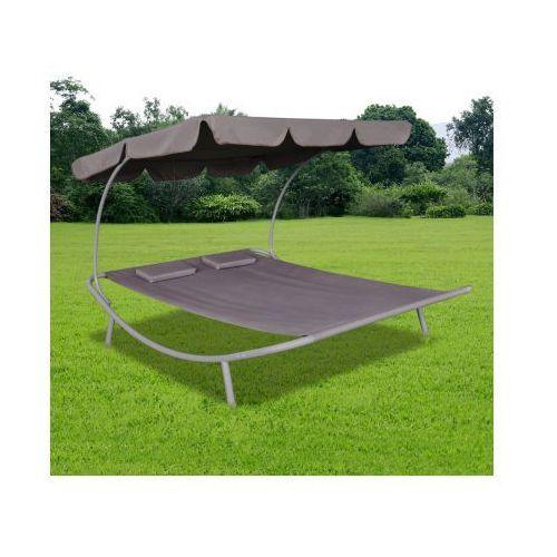 Podwójny leżak z baldachimem i 2 brązowymi poduszkami - produkt dostępny w VidaXL