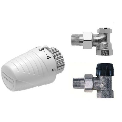 Głowica termostatyczna + Zawór term + odcinający KĄTOWY 1/2 Honeywell - Zestaw