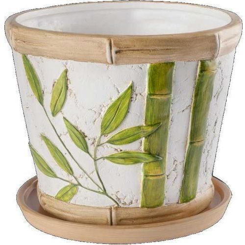 Okrągła doniczka Bambus z podstawką 17cm, produkt marki Galicja